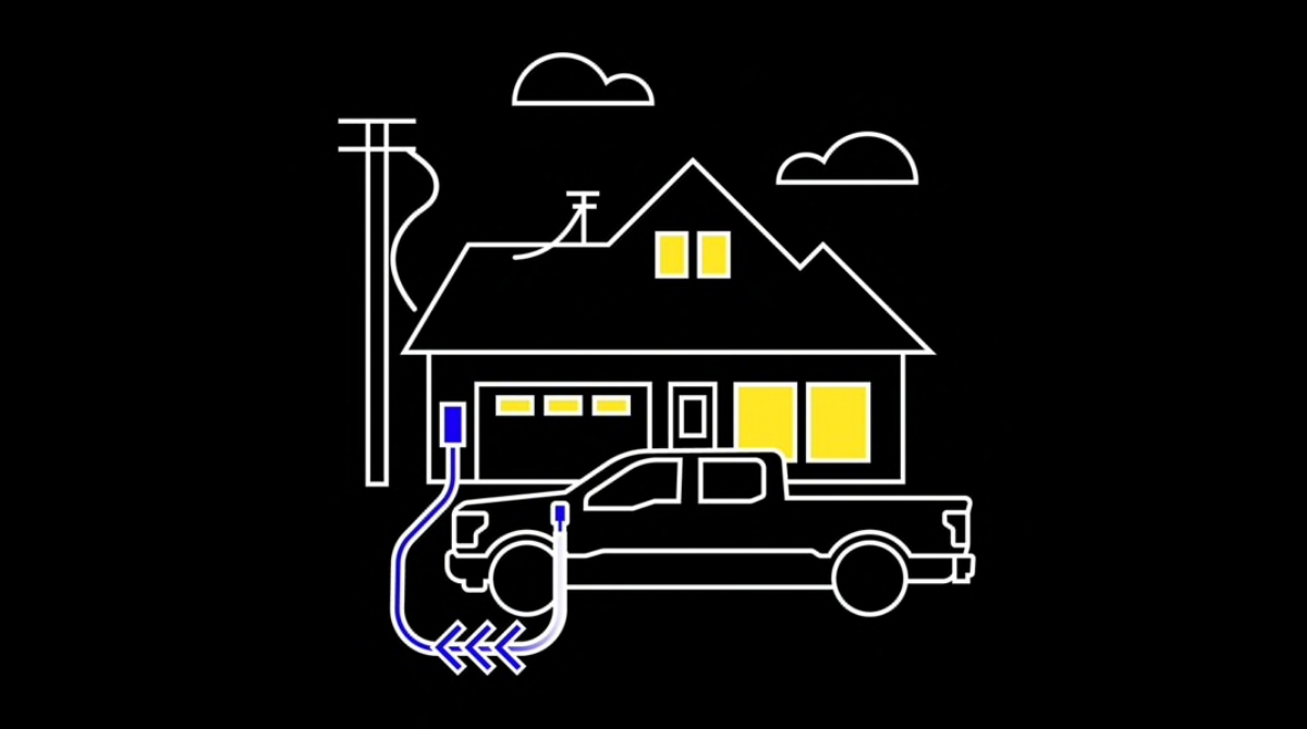 An illustration of a truck providing power to a home.